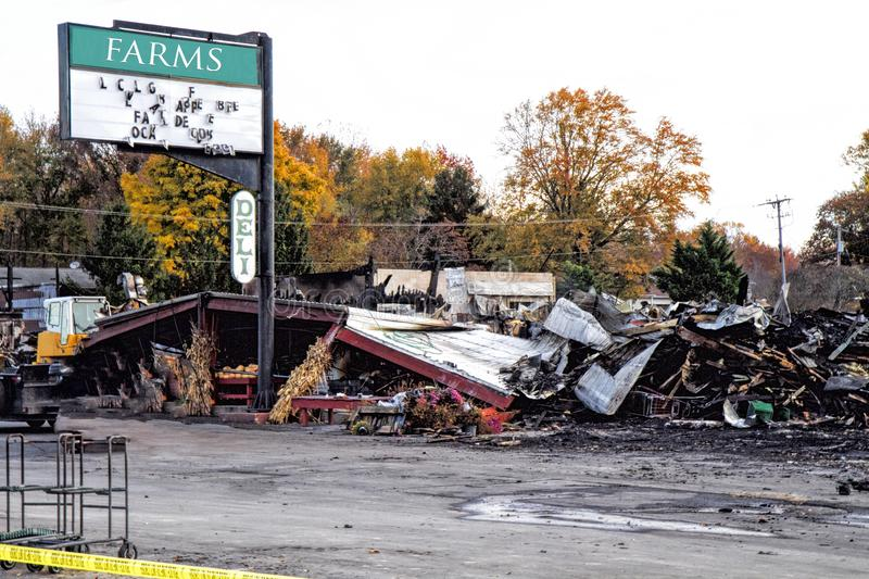 Fire destroyed local farmer`s market. Debris everywhere. royalty free stock image
