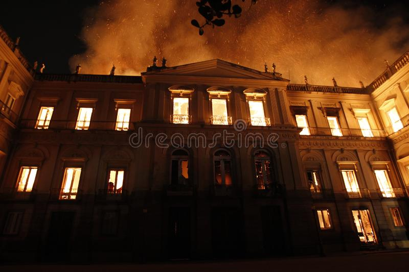 Fire destroys collection and part of the building of the National Museum of Quinta da Boavista, in Rio de Janeiro, Brazil royalty free stock photos