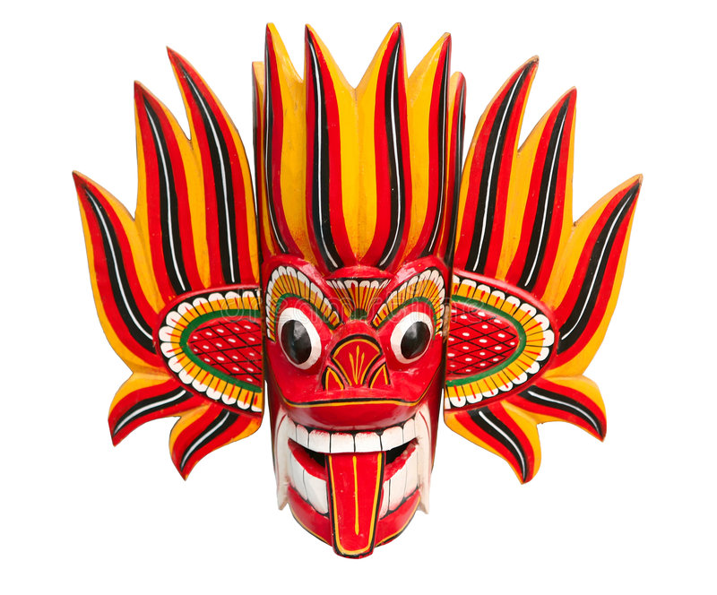 Fire Devil mask. Fire Mask - Wooden Mask from Sri Lanka Sri Lankan traditional Fire Devil mask. The Fire Devil, Gini Raksha, is supposed to subdue enemies and vector illustration