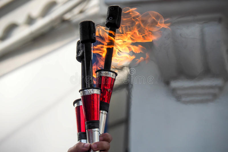 Fire Devil Sticks. From a fire juggler stock image