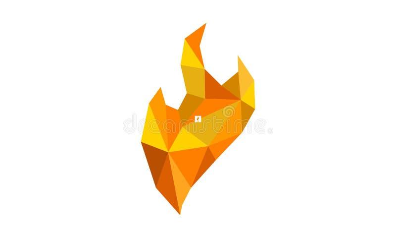 Fire Diamond Logo Design Template stock illustration