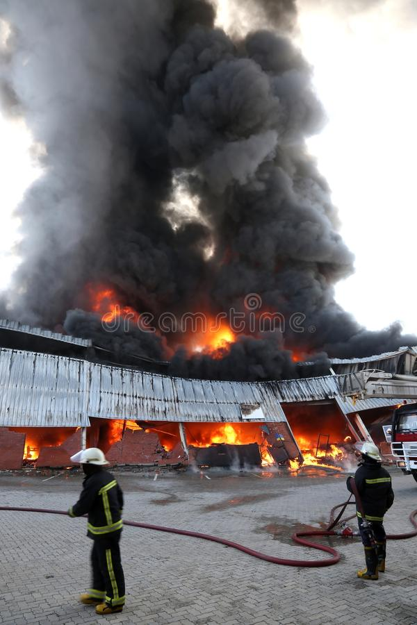Fire Disaster in Warehouse royalty free stock images