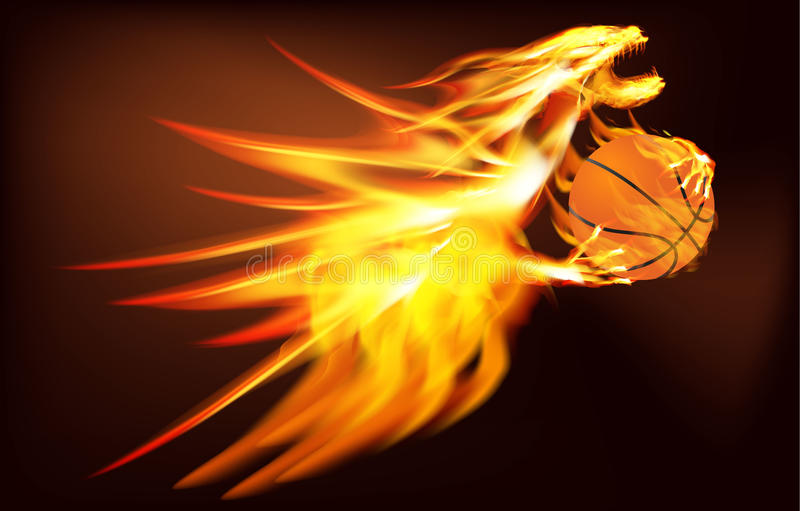 Fire Dragon with a basketball stock illustration