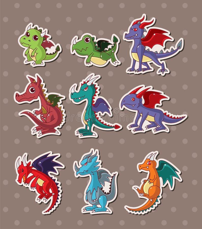 Fire dragon stickers stock illustration