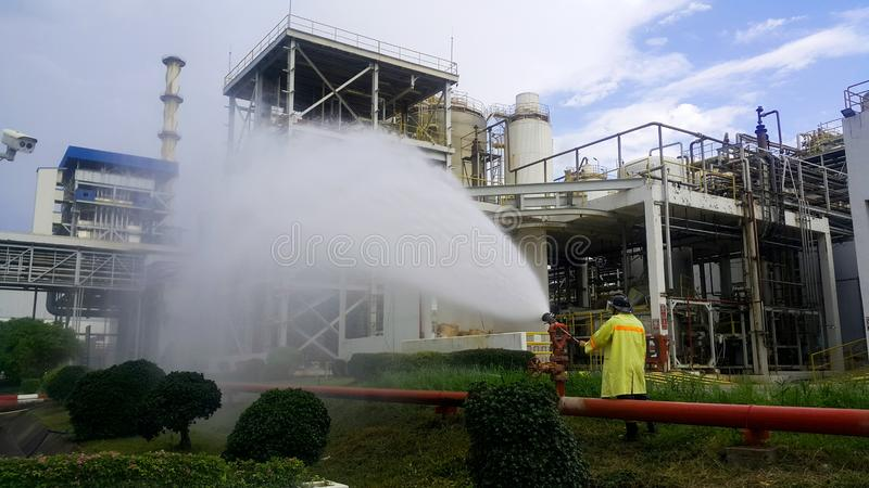 Fire drills and testing equipment  for fire protection system. In fuel oil storage stock photography