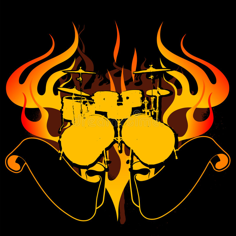 Free Fire Drums Graffiti Banner Royalty Free Stock Photo - 2507965