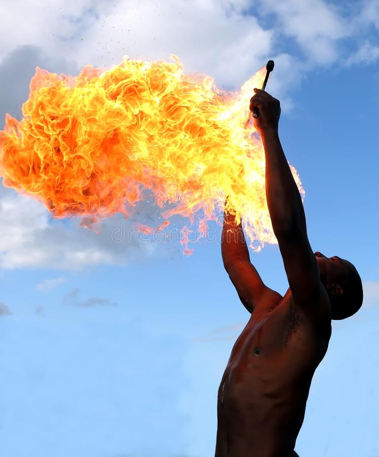 Fire Eater at the Circus stock image