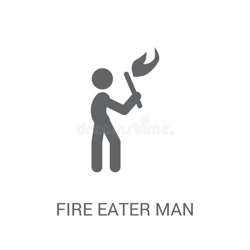 Fire eater man icon. Trendy Fire eater man logo concept on white royalty free illustration