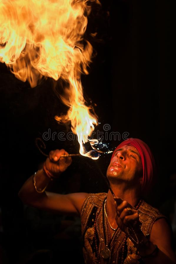 Fire eater royalty free stock photography