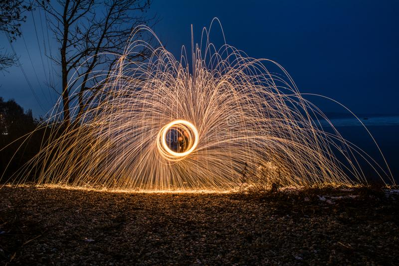 Fire effects with steel sponge stock images
