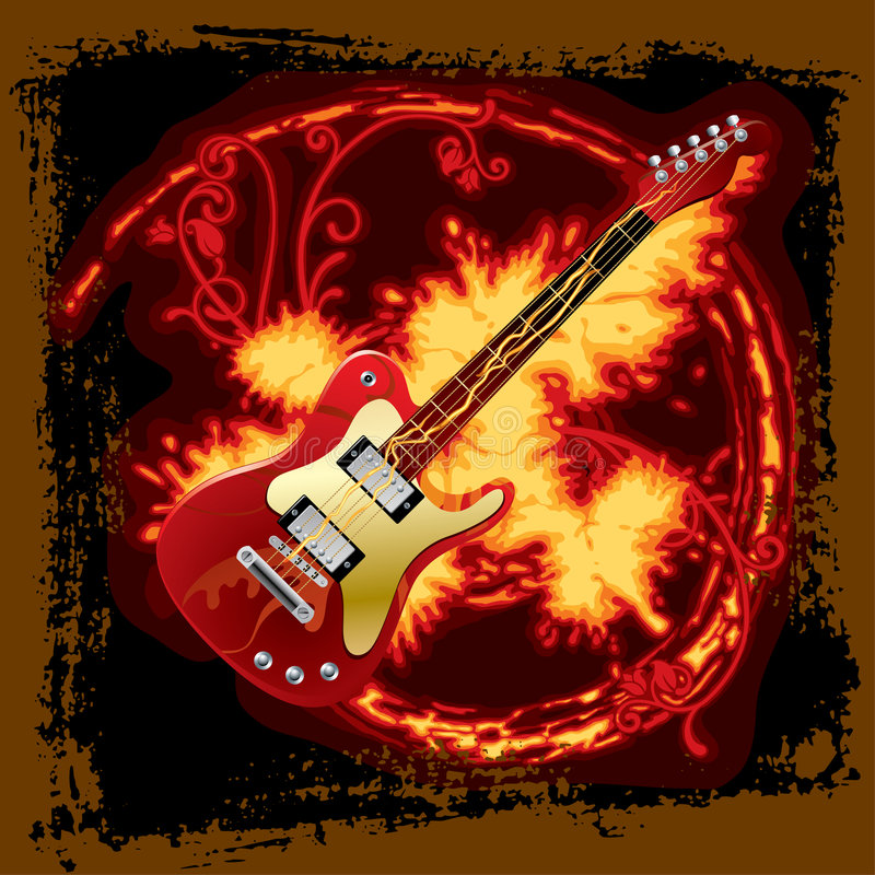 Fire electric guitar stock illustration
