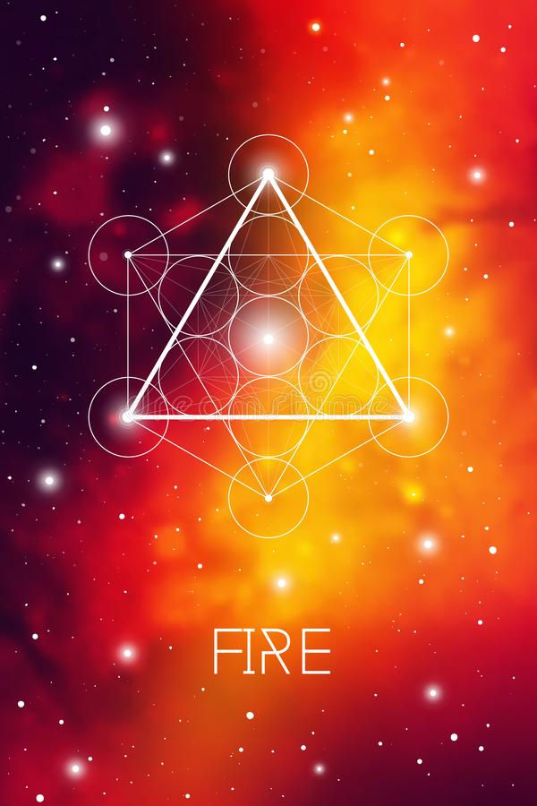 Fire element symbol inside Metatron Cube and Flower of Life in front of outer space cosmic background. Sacred geometry vector illustration