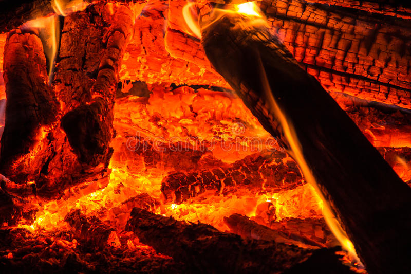 Real fire and hot ember royalty free stock photo