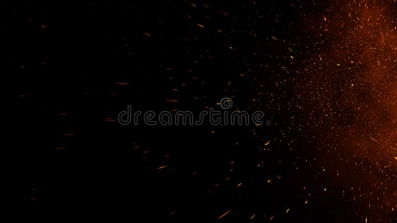 Fire embers particles texture overlays . Burn effect on isolated black background. Design element stock images