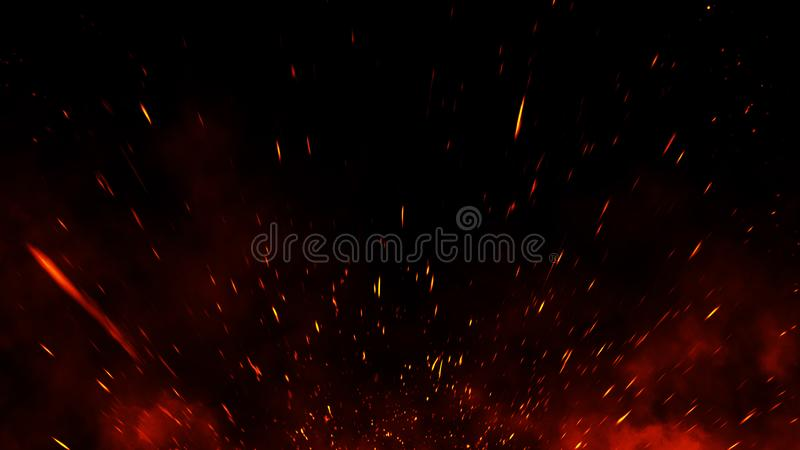 Fire embers particles texture overlays . Burn effect on isolated black background. Design element royalty free stock image