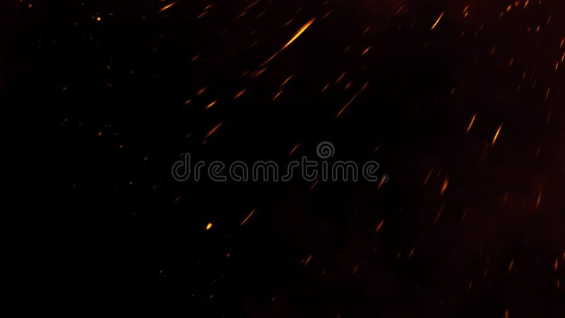 Fire embers particles texture overlays . Burn effect on isolated black background. Design element royalty free stock photography