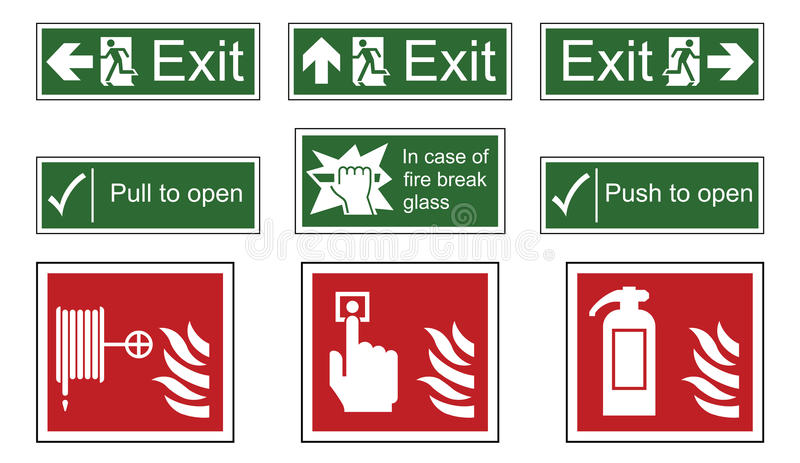 Fire and Emergency Exit Signs stock illustration