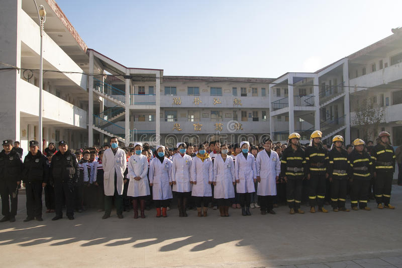 Fire emergency rescue drill. November 28, 2013 morning, baixiang County Middle School held a stampede of fire and emergency exercises. The exercise simulated a stock photography