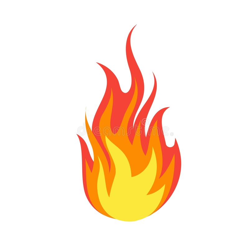 Fire emoji. Simple light creative dangerous energy flame burns fired symbol isolated vector illustration stock illustration