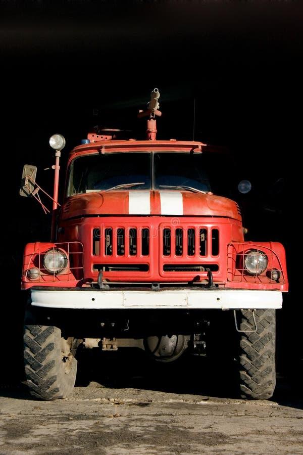 Fire engine. A fire truck standing in garage - natural light stock photos