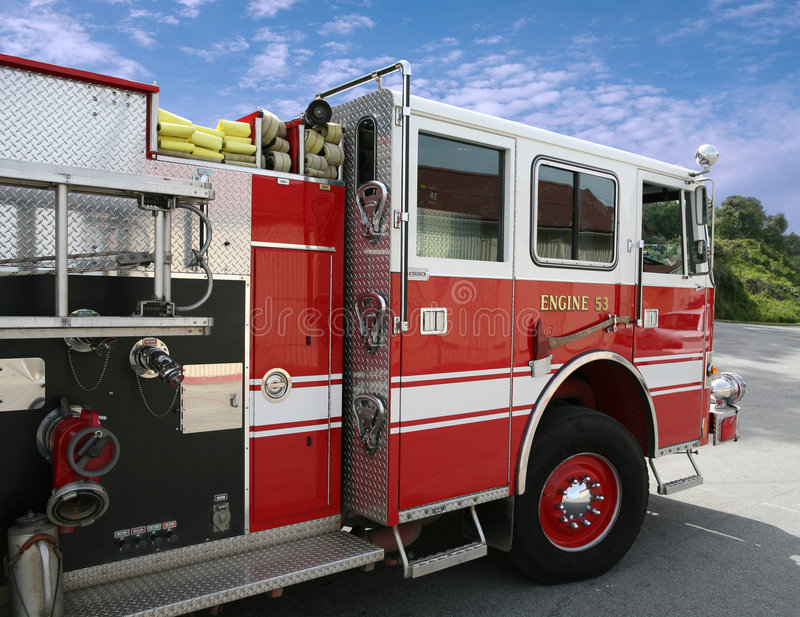Fire Engine. Fire truck against nature's colors royalty free stock photos