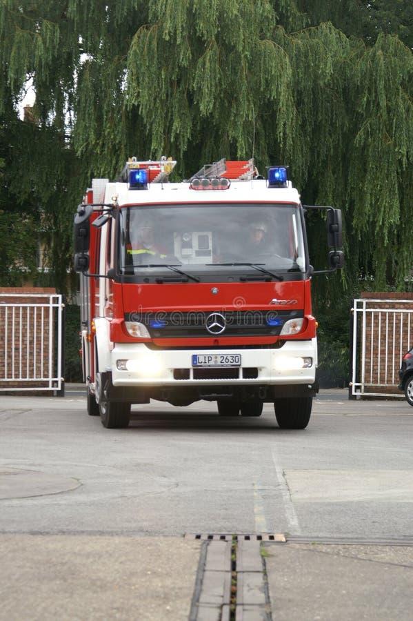Fire engine on blue light stock photos