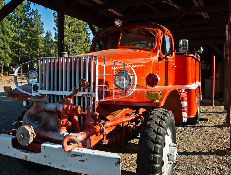 Fire engine. Classic, antique red fire engine stock image