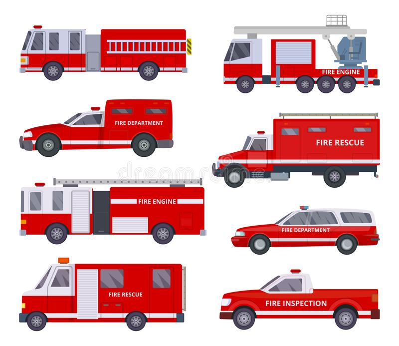 Fire engine. Collection with red emergency department lighting service van helicopter vector vehicles. Illustration of emergency firetruck with siren royalty free illustration