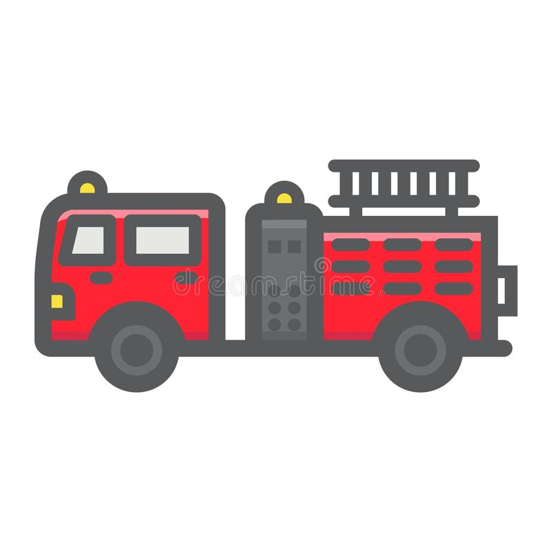 Fire Engine filled outline icon, transport vehicle stock illustration