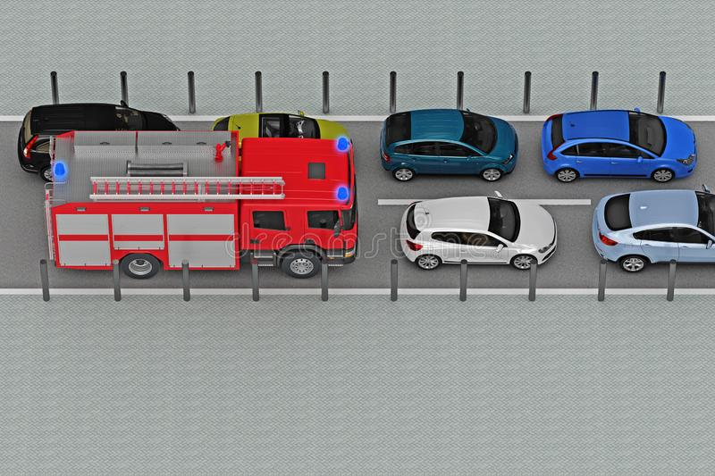 Fire engine with flashing lights in traffic jam. 3d rendering royalty free illustration