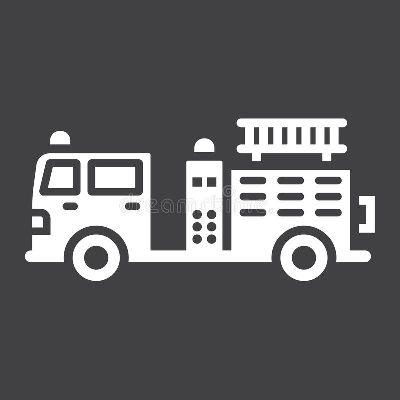 Fire Engine glyph icon, transport and vehicle stock illustration