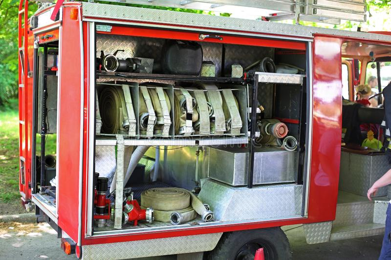 Fire-engine. Inside detail of red fire-engine royalty free stock images