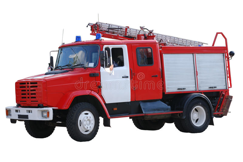 Fire-engine isolated on white royalty free stock photography