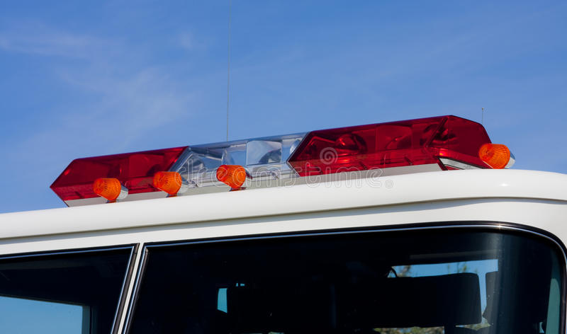 Fire Engine Lights. Light bar on the top of a fire engine royalty free stock image