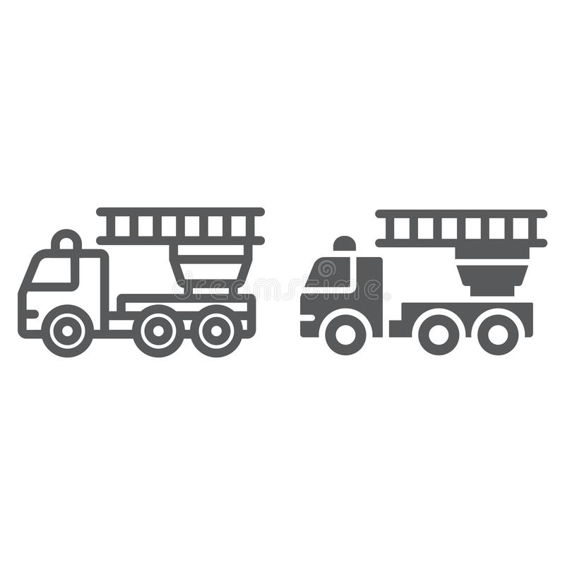 Fire engine line and glyph icon, emergency and fire, firetruck sign, vector graphics, a linear pattern on a white stock illustration