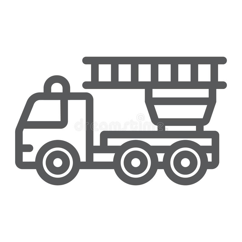 Fire engine line icon, emergency and fire, firetruck sign, vector graphics, a linear pattern on a white background. royalty free illustration