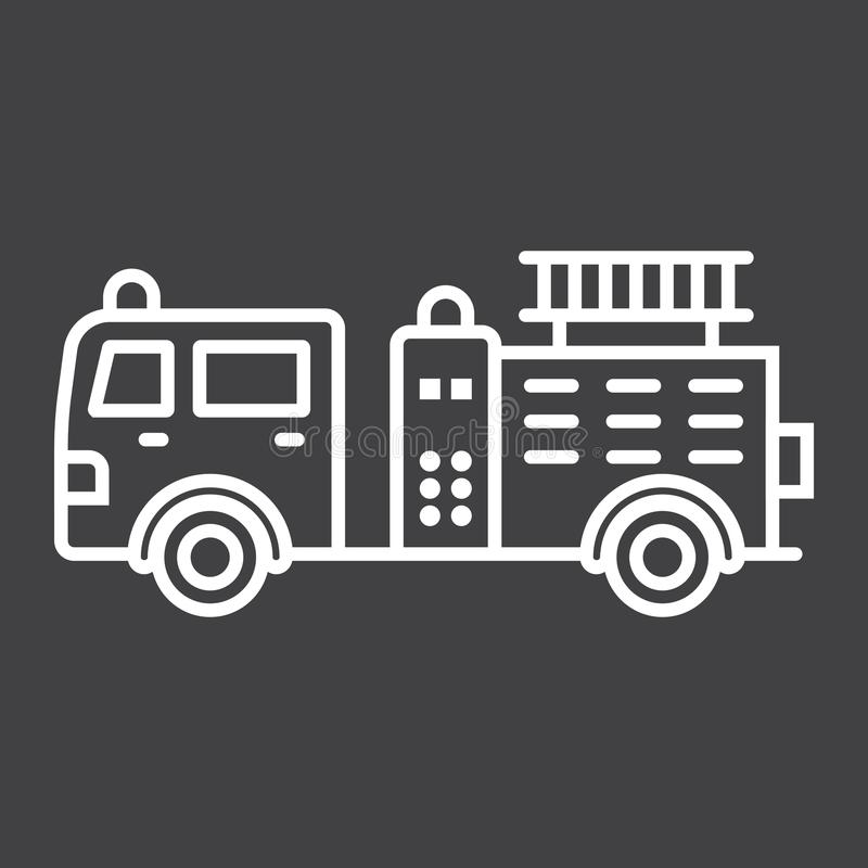 Fire Engine line icon, transport and vehicle vector illustration