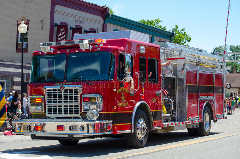 Fire engine in a parade stock photography