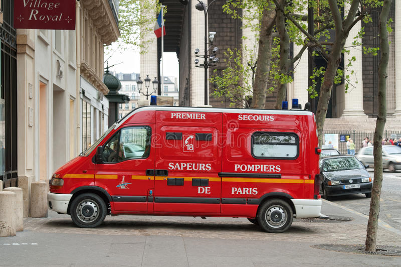Fire engine on Paris street, France stock images