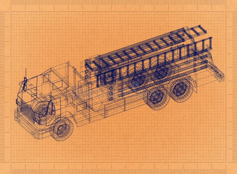 Fire engine - Retro Blueprint stock illustration