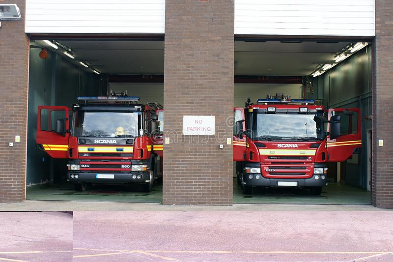 Fire engine in fire station. In standby for incident or fire, community protection stock images