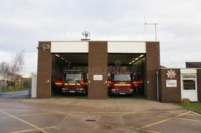 Fire engine in fire station. In standby for incident or fire, community protection stock photo