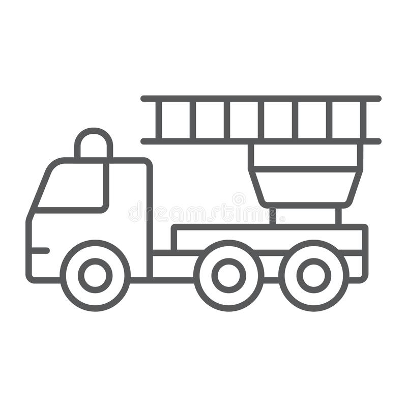 Fire engine thin line icon, emergency and fire, firetruck sign, vector graphics, a linear pattern on a white background. vector illustration