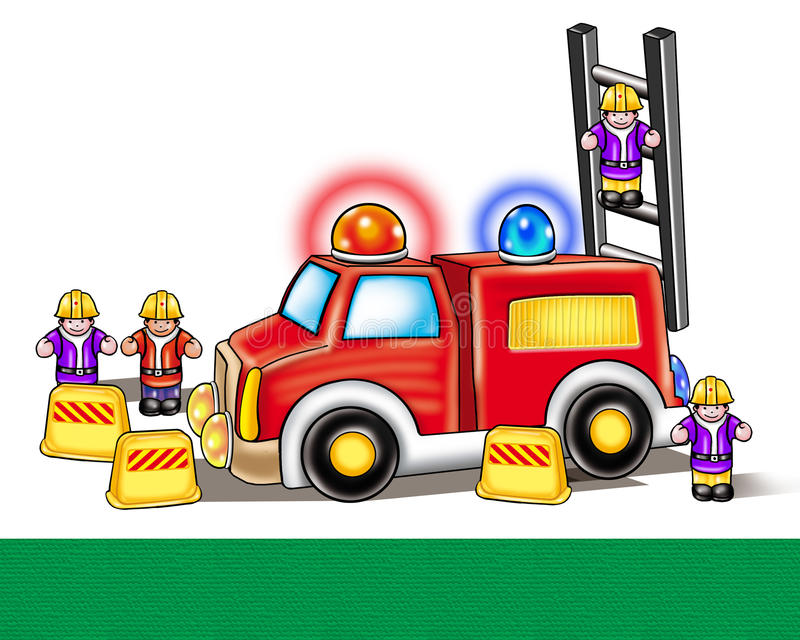 Fire engine firefighters toy. Illustration. Fire engine and firefighters toy set on white background. Illustration. Digital drawing. Colorful details of Toy Fire vector illustration
