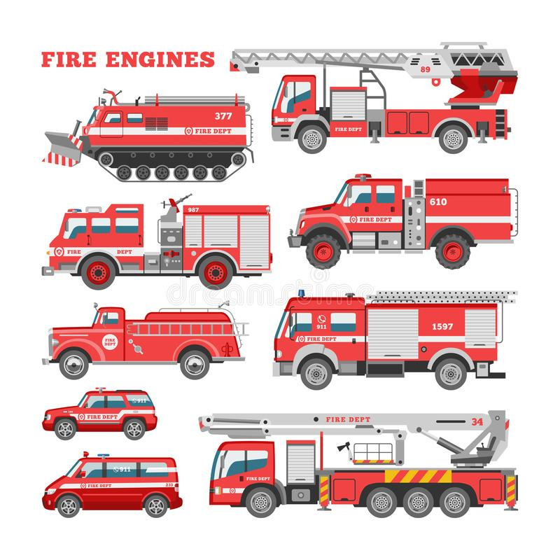 Free Fire Engine Vector Firefighting Emergency Vehicle Or Red Firetruck With Firehose And Ladder Illustration Set Of Royalty Free Stock Image - 122797506