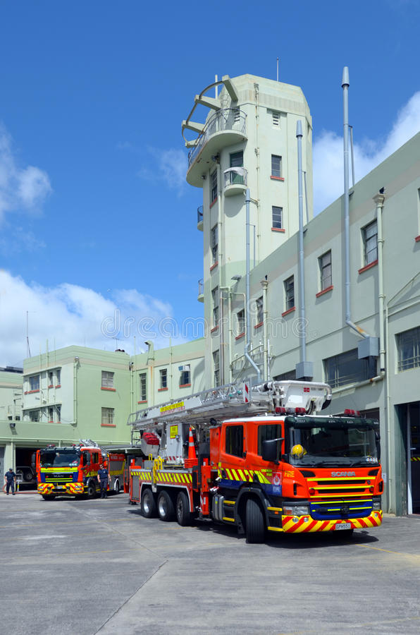 Fire engines in Auckland City Fire Station in Auckland New Zealand royalty free stock photography