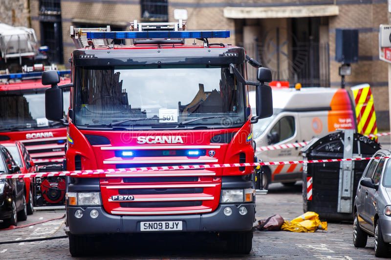 Fire Engines. On an emergency incident call in Edinburgh city centre royalty free stock photos