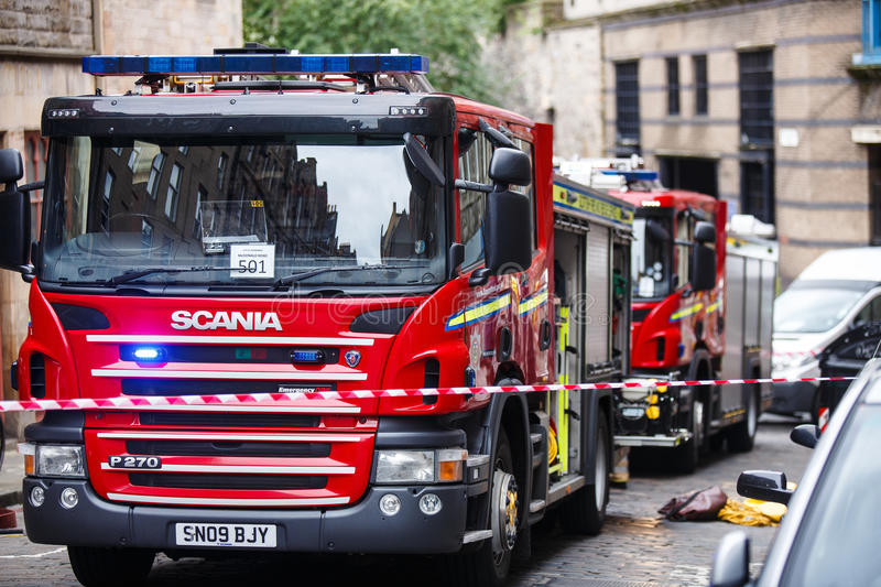 Fire Engines. On an emergency incident call in Edinburgh city centre royalty free stock images