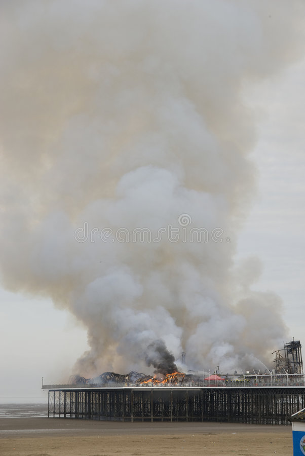Fire engulfs Weston-super-Mare Grand Pier royalty free stock photo