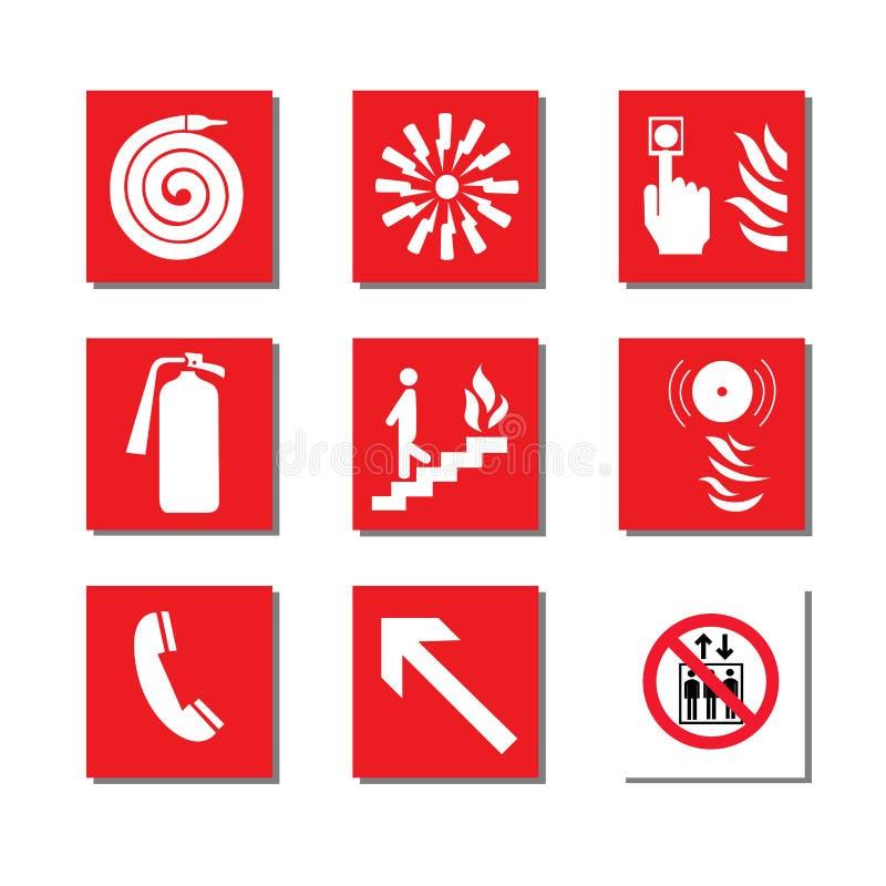 Fire equipment signs vector illustration